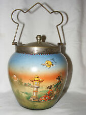 ANTIQUE NORITAKE? JAPONNAISE BISCUIT BARREL GEISHA MOUNT FUJI COURT LADIES