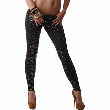 CRAZY AGE DAMEN LEGGINGS LEGGING SCHWARZ GOLD PRINT NEU 32 34 36