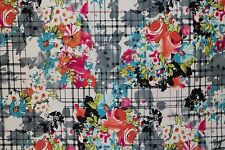Floral Plaid Ponte Print #18 Double Knit Fabric Stretch Poly Lycra Spandex BTY