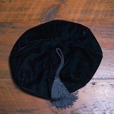 Vtg 40s Womens DANA MARTE Navy Blue Tassel Velvet Beret Dress Hat Cap M