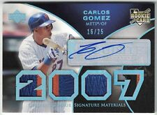 2007 EXQUISITE COLLECTION ROOKIE AU SILVER SPECTRUM #193 CARLOS GOMEZ #16/25