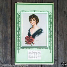 Vintage Original BEAUTIES ROSES LITHO Store Full Pad Promotional Calendar 1929