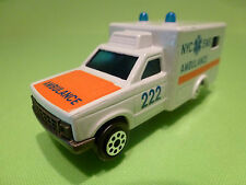MAJORETTE 255 CHEVROLET CHEVY - AMBULANCE 222 NYC EMS 1:60 - GOOD CONDITION
