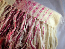 100% Mohair Throw  Pink White and Burgundy Stripes