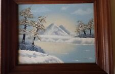 """Oil Painting Winter Landscape Lake Snow Woods Frame Picture 13"""" x 11"""" Signed"""