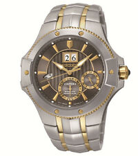 New Seiko SNP108 Two-Tone Kinetic Coutura Perpetual Calendar Men's Watch
