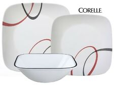 18-pc Corelle SQUARE FINE LINES Dinnerware Set *Sweeping Arcs in BLACK & RED New
