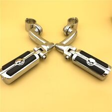 "Chrome 360 Adjustable 1.5"" Skull FootPeg Kit For Honda VTX1300 Shadow Valkyrie"