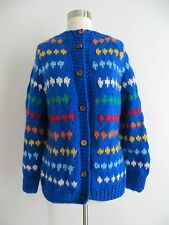 Colorful fair isle stripe blue knit cardigan sweater ONE SIZE FITS MOST custom