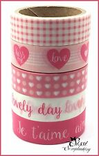 MAXI LOT Masking tape (x5) Artemio AMOUR LOVELY COEUR ROSE VICHY JE T'AIME DIY