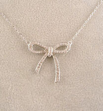 """1"""" Silver Contemporary Flawless Clear Cubic Zirconia Ribbon Bow Pendant Necklace"""