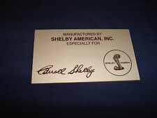 $$$$$  SHELBY AMERICAN DASH PLAQUE  MUSTANG  FASTBACK GT350 GT500  $$$$$