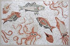 "40"" Handmade Art Tile Stone Sea Creatures Various Fish And Sealife Marble Mosaic"