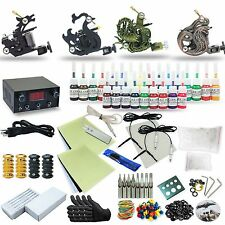 Complete Tattoo Kit 4 machine Set Gun 25 Color Inks Power Supply TK-49
