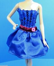SPARKLE GIRLZ BARBIE CLOTHES ROYAL BLUE SEQUIN PINK BELT STRAPLESS SATIN DRESS