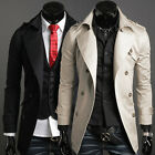 New Mens Stylish Double Breasted Slim fit Formal Long Trench Coat Jacket Outwear