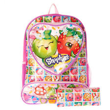 "Shopkins 16"" Backpack Oversized Heart Backpack School Large Book Bag Bonus Case"