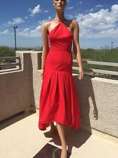 JILL Jill Stuart Lipstick Red Silk Blend Halter Neck Hi-Low Formal Dress Gown