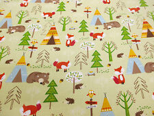 "Green Foxes,Bears,Trees ""Forest Friends"" Printed 100% Cotton Poplin Fabric."