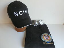 NCIS Badge on Black T-Shirt size  M 38/40 inch chest+NCIS Cap+Free Sunglasses