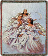 """THROWS - """"TRIO OF ANGELS"""" TAPESTRY THROW BLANKET - 50"""" X 60"""" - AFRICAN AMERICAN"""
