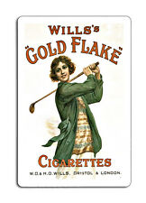 Wills Gold Flake Cigarettes Lady Golfer  Retro  Plaque Metal Sign 8x12 inches