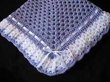 Hand-Crochet Lilac & White Square Baby Blanket Afghan