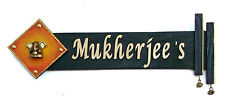 Personalised Wooden Name Plate With Brass Ganesh