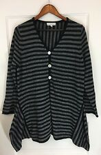 Bryn Walker Long Sweater Cardigan Sz M Black Gray Stripe Cashmere Lagenlook