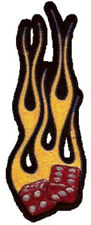 Gravure Dés Patches 15x6cm Flamboyant Dice Patch Flammes, Rouge Or Gilet Veste
