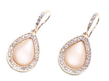 BEJEWELLED DIAMANTE STUDDED PEARL EARRINGS SET  SHAPED AS A TEARD DROP (ZX57)