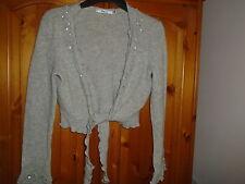 Longitud de la cintura Gris bonita Corbata Cardigan, de manga larga, detalle de lentejuelas, medio M & Co.