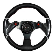 320mm Racing JDM Steering Wheel Carbon Look Black PVC Leather TRD For Toyota