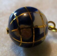 UNUSUAL GOLD SLIDING  Charm Pendant Globe Earth World  Mixed Gemstone