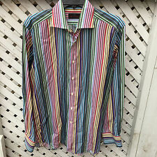 Etro Milano 100% Cotton Button Front Shirt Men's 41 Stripes Made in Italy