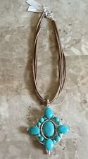 "NEW WITH TAGS  KARMA BELLA GENUINE STONE  TURQUOISE  16"" PENDANT NECKLACE"