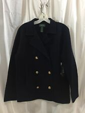 RALPH LAUREN Navy Wool Gold Button Blazer Jacket Coat Women's Medium