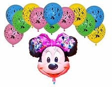 Minnie Mouse Large Head Foil and 12 Latex Balloons Party Decoration