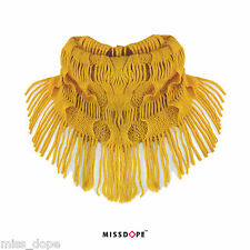NEW Yellow Fringe Tassel Snood Thick Warm Neck Wrap Womens Scarves Winter UK