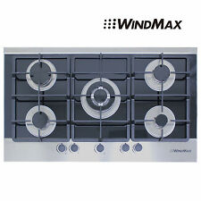 """NEW 36"""" Black Electric Tempered Glass Built-in Kitchen 5 Burner Gas Hob Cooktops"""