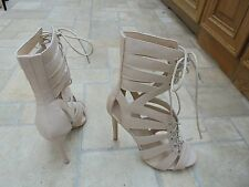 PUBLIC DESIRE NUDE HIGH RISE CORSET ANKLE BOOTS STILETTO HEEL UK 5 NEW