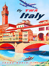 Florence Fly Italy Airplane Italian Europe Vintage Travel Advertisement Poster