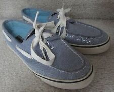 Sperry Top-Sider Bahama 2 Eye Boat Shoes 9688649 Blue Sequins Womens Size 6M