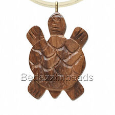 """Big 1 1/2"""" Hand Carved Wooden Turtle Focal Charm Pendant From Indian Rose Wood"""