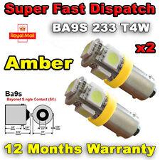 2 x 5 LED SIDE / INDICATOR LIGHT BULB 233 BA9S T4W 360 SUPER BRIGHT - AMBER