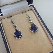 Sterling Silver Sapphire and Marcasite Earrings