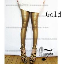 AU STOCK High Rise Leather Look Pants Dance Disco Leggings Multiple Colour  P121