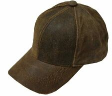 Rascal Antique Distressed Leather Baseball Cap Made in USA Brown