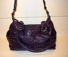 B. Makowsky Purse Large Slouch Shoulder Hobo Bag Subtle Plum Leather W/Studs