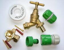 Outside Tap Kit With Wall Mounting Plate, PTFE, Screws, 3 Garden Hose Fittings
